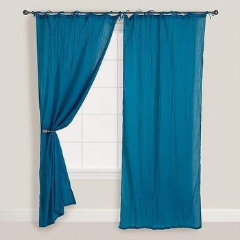 Window Treatments - Ocean Blue Crinkle Voile Curtain | World Market - royal blue drapes, royal blue curtains, royal blue crinkle voile curtains, royal blue crinkle voile drapes,