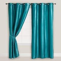 Window Treatments - Aegean Blue Dupioni Grommet Curtain | World Market - teal blue dupioni curtains, teal blue dupioni drapes, teal silk curtians, teal silk drapes, aegean blue dupioni grommet curtains,