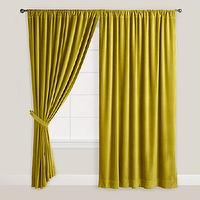 Window Treatments - Green Velvet Oasis Curtain | World Market - chartreuse velvet curtains, chartreuse velvet drapes, green velvet curtains, green velvet drapes,