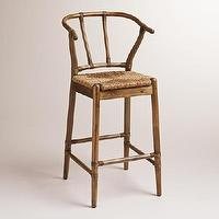 Seating - Natural Bowen Wishbone Barstool | World Market - wishbone barstool, wishbone bar stool, wishbone barstool with rush seat,