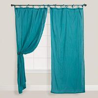 Window Treatments - Porcelain Crinkle Voile Curtain | World Market - teal curtains, teal drapes, teal crinkle voile curtain, teal crinkle voile drape,