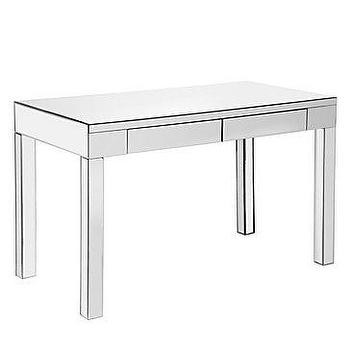 Tables - Ledger Parsons Mirrored Desk | Z Gallerie - mirrored desk, mirrored parsons desk, modern mirrored desk,