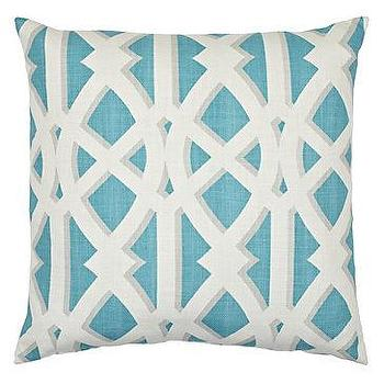 "Pillows - Elton Pillow 24"" Pillow I Z Gallerie - turquoise blue and ivory pillow, turquoise blue lattice pillow, turquoise blue trellis pillow,"