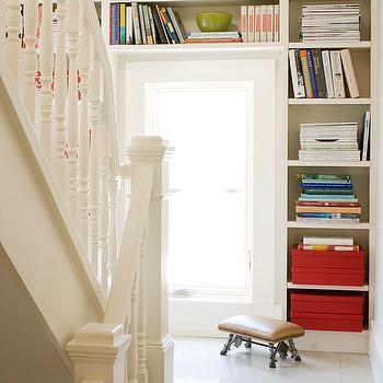Second Floor Landing Built In Bookcase, Eclectic, entrance/foyer, BHG