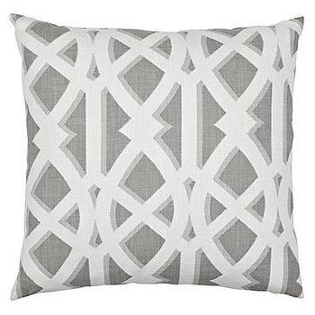 "Pillows - Elton Pillow 24"" Pillow - Slate I Z Gallerie - gray and white pillow, gray and white lattice pillow, gray and white trellis pillow,"