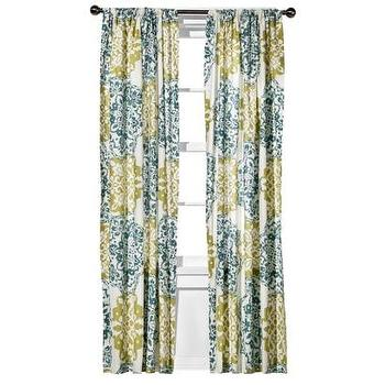 Window Treatments - Boho Boutique Mosaic Brocade Window Panel - Blue/Green I Target - brocade window panels, blue and green brocade curtains, brocade patterned drapes, blue and green drapes, blue and green curtains,