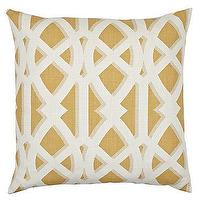 "Pillows - Elton Pillow 24"" Pillow - Citron I Z Gallerie - yellow and white pillow, yellow and white trellis pillow, yellow and white lattice pillow,"