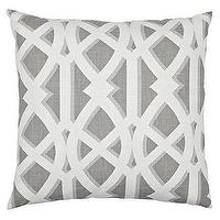 Pillows - Elton Pillow 24&#034; Pillow - Slate I Z Gallerie - gray and white pillow, gray and white lattice pillow, gray and white trellis pillow,
