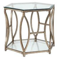Tables - Brooke Hexagonal End Table | Z Gallerie - contemporary hexagonal end table, champagne colored hexagonal end table, hexagonal glass topped end table,
