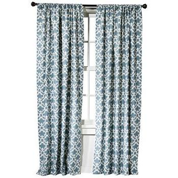 Window Treatments - Threshold Farrah Fretwork Window Panel I Target - blue fretwork drapes, blue fretwork window panels, blue fretwork curtains, blue and ivory fretwork window panel,
