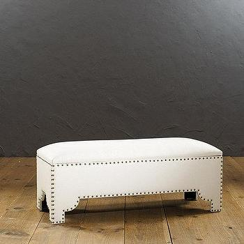 Seating - Jasmine Storage Bench | Ballard Designs - modern nailhead storage bench, white nailhead trim storage bench, mediterranean storage bench, modern white storage bench with nailhead trim,