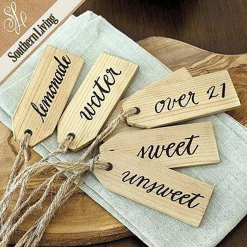 Decor/Accessories - Set of 6 SL Beverage Tags | Ballard Designs - wooden beverage tags, wooden beverage labels, beverage tags,