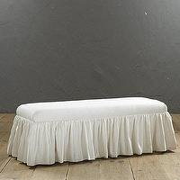 Seating - Betsy Ruffled Skirt Bench | Ballard Designs - ruffled skirt bench, ivory ruffled skirt bench, ruffle skirted bench,