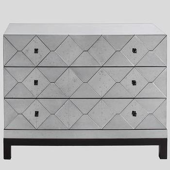 Storage Furniture - Carlyle 3 Drawer Mirrored Dresser | Wayfair - modern mirrored dresser, mirrored dresser, geometric mirrored dresser, modern mirrored 3 drawer dresser,