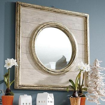Mirrors - Dartmouth Mirror | Ballard Designs - rustic wood mirror, rustic mirror, wood framed mirror, square framed round mirror,