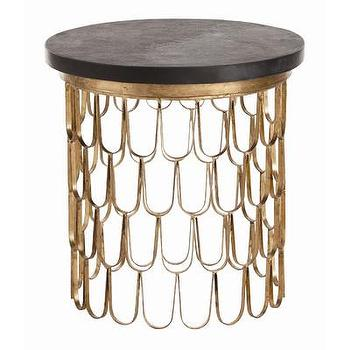 Tables - ARTERIORS Home Orleans Leaf End Table | Wayfair - gold fish scale end table, gilt iron end table, gold leafed iron end table, fish scale patterned end table,