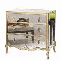 Storage Furniture - Corinne Occasional Chest in Platinum Shimmer | Wayfair - antiqued mirrored chest, mirrored chest, french style mirrored chest,