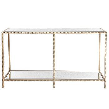 Tables - Stud Console I zinc door - gold and antiqued mirror console table, gold and mirrored console table, gold leafed console table with mirrored shelves,