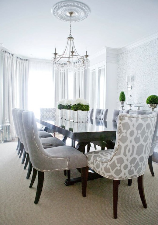 Gray dining chairs transitional dining room lux decor for Fancy dining table and chairs