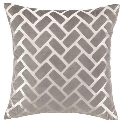 DL Rhein Rectangles Grey Embroidered Velvet Pillow I zinc door