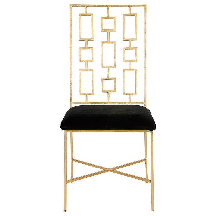 Worlds Away David Gold Leaf Dining Chair Black Velvet I