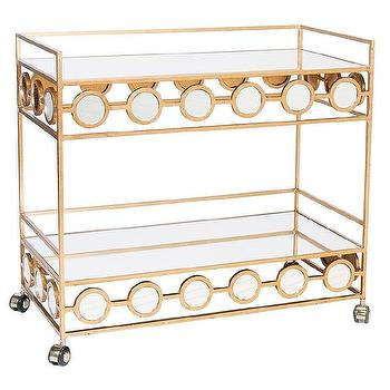 Tables - Worlds Away Carr Gold Leafed Bar Cart I zinc door - bar cart, bar cart with mirrored accents, gold leafed bar cart, glamorous bar cart,