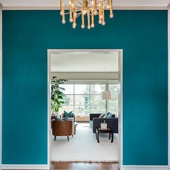 Peacock Blue Paint Color, Eclectic, entrance/foyer, Benjamin Moore Galapagos Turquoise, Cheryl Burke Interior Design