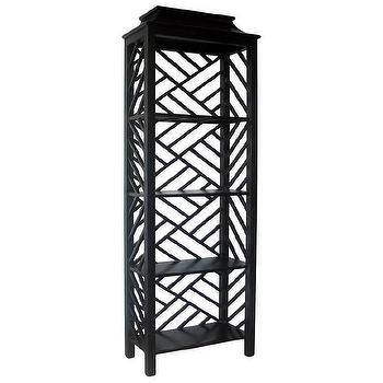 Storage Furniture - Noir Meiling Bookcase Hand Rubbed Black I zinc door - black asian bookcase, black chippendale style bookcase, contemporary black bookcase, asian inspired bookcase,