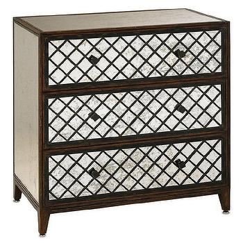 Storage Furniture - Currey & Co Sabrina Three Drawer Large Chest I zinc door - antiqued mirror fronted chest, mirror fronted chest with lattice overlay, espresso chest with mirror fronted drawers,