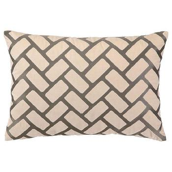 Pillows - DL Rhein Rectangles Taupe Embroidered Velvet Pillow I zinc door - cream velvet geometric pillow, cream velvet pillow with taupe geometric pattern, cream and taupe geometric pillow,