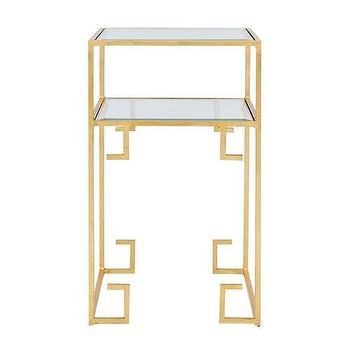 Tables - Worlds Away Clare Gold Leafed Greek Key Two Tiered Table I zinc door - gold greek key side table, gold tiered greek key side table, greek key two tiered gold table,