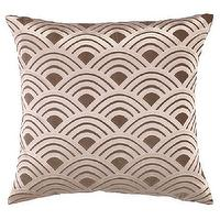 Pillows - DL Rhein Fans Brown Embroidered Velvet Square Pillow I zinc door - brown velvet geometric patterned pillow, brown velvet embroidered pillow, brown velvet fan patterned pillow,