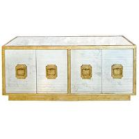 Storage Furniture - Worlds Away Ponti Mirror Media Center I zinc door - gold leafed antiqued mirror paneled media center, gold framed antiqued mirrored media cabinet, antiqued mirror fronted media center,