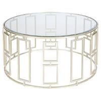 Tables - Worlds Away Jenny Silver Leafed Coffee Table I zinc door - silver leafed coffee table, contemporary silver leafed coffee table, geometric round silver coffee table with glass top, round silver coffee table with glass top,