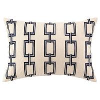 Pillows - DL Rhein Chain Link Navy Embroidered Pillow I zinc door - linen pillow with navy chain link embroidery, linen pillow with geometric navy pattern, linen pillow with navy embroidery,