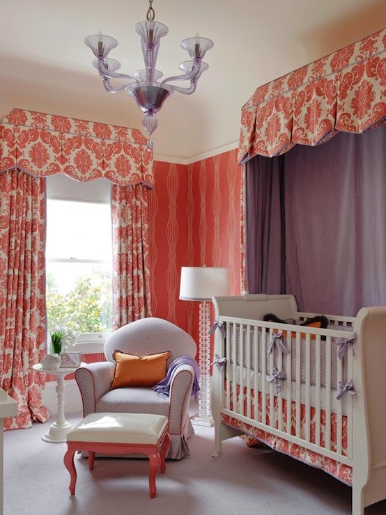 Orange nursery design traditional nursery kendall for Canopy over crib