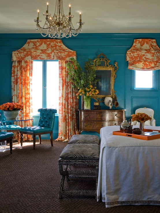 Turquoise and orange bedroom eclectic bedroom - Curtains with orange walls ...