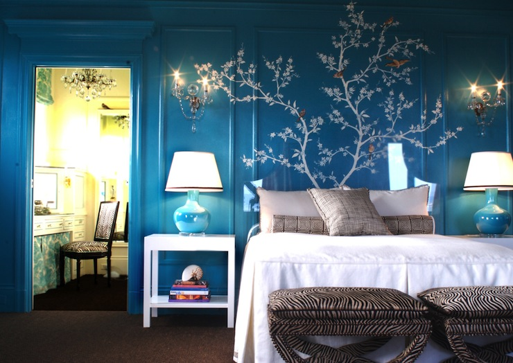Turquoise bedroom eclectic bedroom kendall wilkinson design - Teal wallpaper wilkinsons ...
