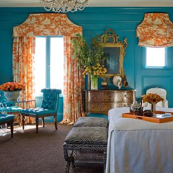Kendall Wilkinson Design - bedrooms - turquoise bedroom, turquoise paneled walls, paneled walls, molding, wall moldings, turquoise walls, turquoise wall color, orange and white toile fabric, orange and white toile curtains, orange and white toile drapes, orange and white toile pleated valance, box pleated valance, Paradise Background Quadrille Fabric, antique chest of drawers, antique dresser, gilt mirror, ornate gilt mirror, glass table, glass pedestal table, turquoise leather tufted chairs, teal leather tufted chairs, natural fiber carpet, chocolate brown carpet, geometric patterned brown carpet, zebra print stools, zebra print ottoman, black and white zebra print stools, box pleated linen coverlet, box pleated coverlet, linen coverlet with brown ribbon trim, orange serving tray, orange tray, silver vase, traditional bedroom, turquoise and orange bedroom, teal and orange bedroom, toile curtains, toile drapes, gold and crystal chandelier, gold and crystal beaded chandelier, turquoise and orange bedroom, turquoise blue and orange bedroom, orange accents, Quadrille Fabrics Paradise Background,