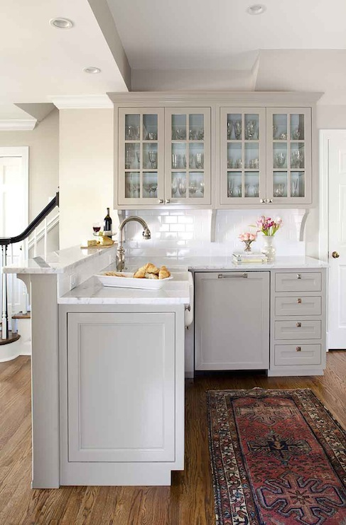 Gray kitchen peninsula transitional kitchen for Best brand of paint for kitchen cabinets with bathroom wall art sets