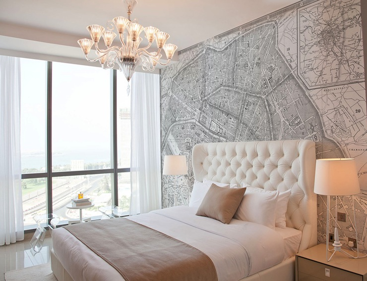 Vintage French Map Mural Contemporary Bedroom
