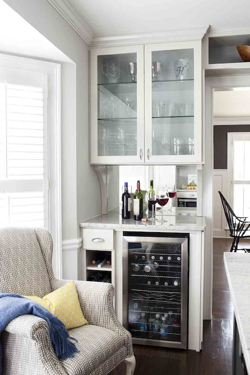 Glass Front Wine Cooler Transitional Kitchen