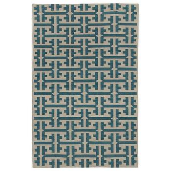 Rugs - Capel Rugs Grecian Blue Green Wool Rug I zinc door - grecian blue green rug, geomtric blue and beige rug, geometric flatwoven rug,