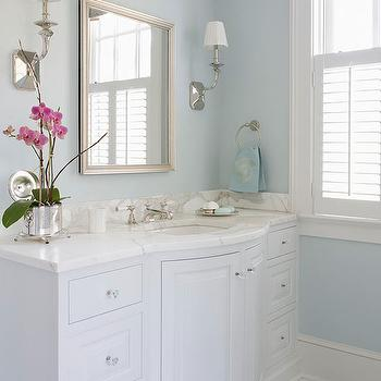 BHG - bathrooms - white and blue bathroom, master bath, master bathroom, white and blue master bath, white and blue master bathroom, blue bathroom, blue master bath, blue master bathroom, blue walls, blue master bath walls, blue master bathroom walls, bow front vanity, bow front cabinet, white vanity, extra wide vanity, white bathroom cabinets, white bathroom vanity, white bow front vanity, marble countertop, beveled mirror, silver beveled mirror, bathroom mirror, bathroom sconces, polished nickel sconces, plantation shutters, bathroom shutters, bathroom plantation shutters, valance, marble tile, marble tile floor, marble bathroom floor,