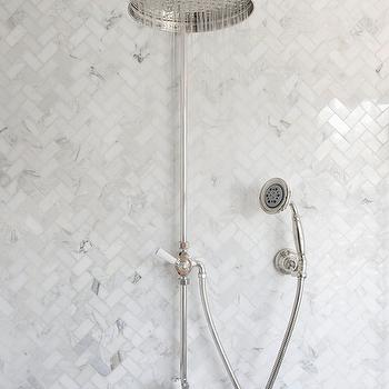 Marble Herringbone Tile Shower, Traditional, bathroom, BHG