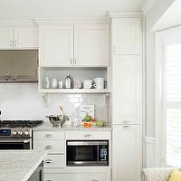 TerraCotta Properties - kitchens - cream cabinets, cream kitchen cabinets, shaker cabinets, cream shaker cabinets, cream shaker kitchen cabinets, cooktop shelves, cooktop shelving, open shelving, kitchen open shelving, open shelves, corbels, kitchen corbels, subway tile backsplash, kitchen hood, stainless steel kitchen hood, gas range, stainless steel range, microwave nook, built in microwave, built in microwave nook, floor to ceiling cabinets, floor to ceiling pantry cabinets, pull out cabinets, pull out pantry cabinets, pull out kitchen cabinets,