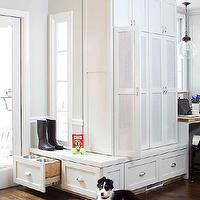 TerraCotta Properties - laundry/mud rooms - kitchen mudroom, kitchen mudroom, mudroom kitchen, mud room kitchen, floor to ceiling cabinets, mud room, mudroom, mud room cabinets, mudroom cabinets, mesh doors, white mesh doors, cabinet doors, mesh cabinet doors, storage drawers, built in drawers, hidden pet bowls, mud room pet bowls, mudroom pet bowls, built in pet bowls,
