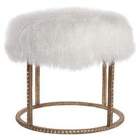 Seating - Stud Poof I zinc door - fluffy white stool, gold based wool stool, modern stool, modern antiqued gold stool,