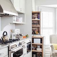 TerraCotta Properties - kitchens - cream cabinets, cream kitchen cabinets, shaker cabinets, cream shaker cabinets, cream shaker kitchen cabinets, cooktop shelves, cooktop shelving, open shelving, kitchen open shelving, open shelves, corbels, kitchen corbels, subway tile backsplash, kitchen hood, stainless steel kitchen hood, gas range, stainless steel range, microwave nook, built in microwave, built in microwave nook, floor to ceiling cabinets, floor to ceiling pantry cabinets, oak wood floors, small appliances cabinet, pull out appliances cabinet, pull out small appliances cabinet, pull out cabinets, pull out kitchen cabinets, pull out pantry cabinets,