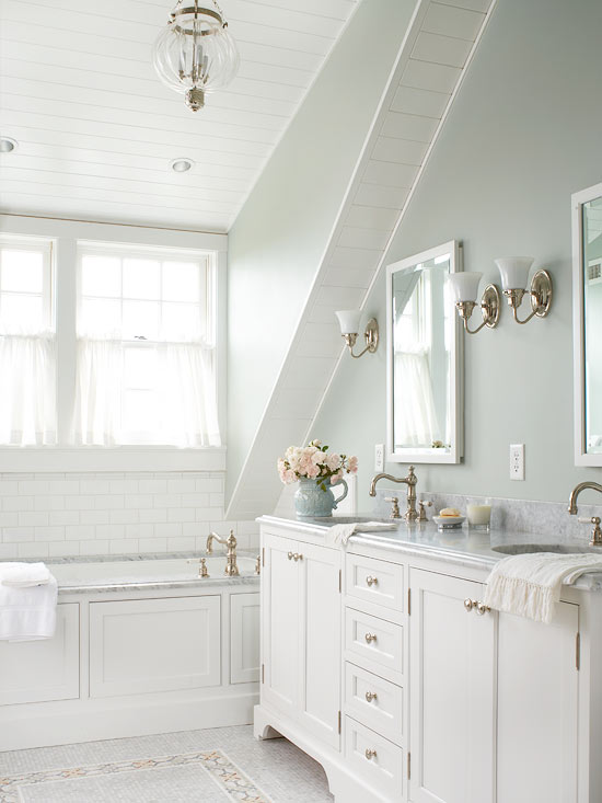 Sloped Bathroom Ceiling Traditional BHG